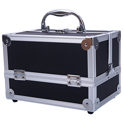 (SM-2176 Aluminum Makeup Train Case Jewelry Box Cosmetic Organizer with Mirror 9