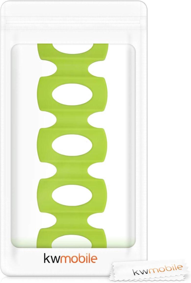 kwmobile Estante para almacenamiento de botellas en nevera Apilador para latas de silicona Botellero en verde
