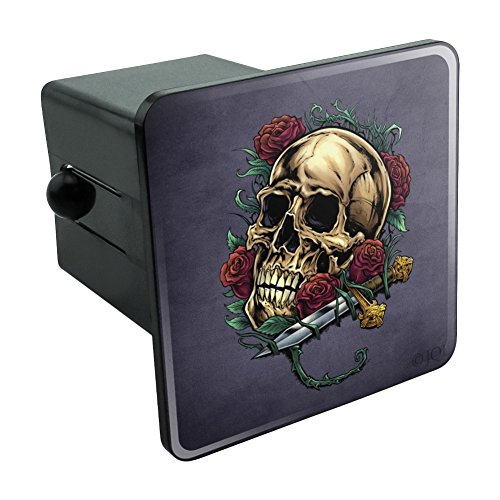 (Roses Skull and Dagger Tow Trailer Hitch Cover Plug Insert 2