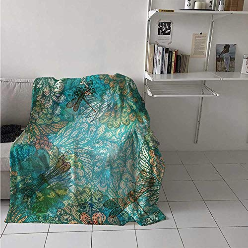 (maisi Dragonfly Custom Design Cozy Flannel Blanket Fantasy Flowers Mixed in Various Tones Shabby Chic Feminine Beauty Print Lightweight Blanket Extra Big 70x60 Inch Turquoise Amber)