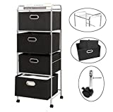 Bonnlo 4-Drawers Rolling Cart,4 Shelves Organization Cart with 4 Nonwoven Collapsible Drawers and 4 Rolling Wheels (2 with brakes) for Clothes, Books, Tools and Papers (BLACK)