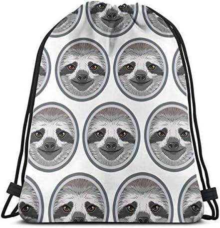 ナマケモノフェイスジムサックバッグ巾着バックパックスポーツバッグメンズ&レディーススクールトラベルバックパック36 x 43cm