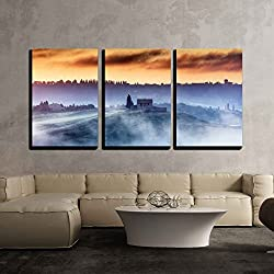 "wall26 - 3 Piece Canvas Wall Art - A Villa on the Top of the Hill in a Misty Sunrise - Modern Home Decor Stretched and Framed Ready to Hang - 16""x24""x3 Panels"