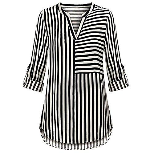 Women Roll Sleeve Tops Tunic Sweatshirt Stripe Casual Blouse Color Block V Neck Shirt Blouse (XL, Black) -