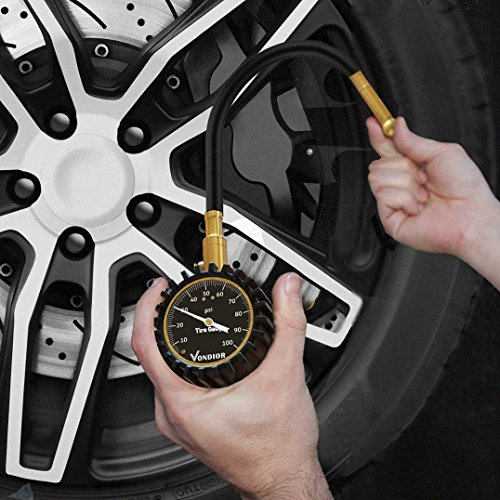 Tire Gauge - (0-100 PSI) Heavy Duty Tire Pressure Gauge. Certified ANSI Accurate with Large 2 Inch Easy to Read Glow Dial, Low - High Air Pressure Tire Gauge for Motorcycle / Car / Truck Tires
