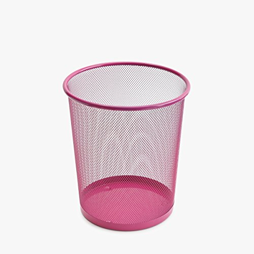 Roomify, Small Metal Wire Mesh Wastebasket, 2.5 Gallon Capacity, Pink