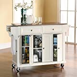 Country Kitchen Islands Crosley Furniture Stainless Steel Top Kitchen Cart/Island, White