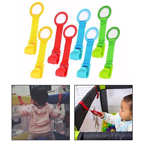 OFKPO 8 Piezas Anillas para Cunas y Parques, Multicolor,con Tira de Textile, Parquecitos De Los Niños para Ayudar Los…