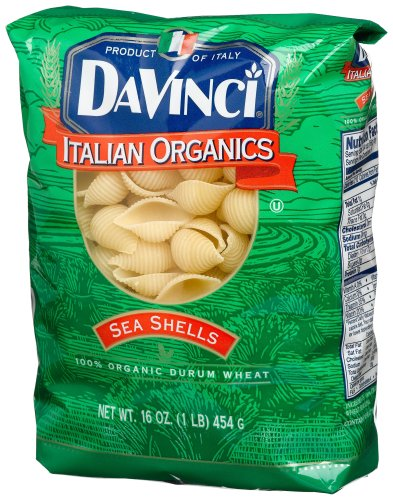 DaVinci Organic Pasta, Sea Shells, 16-Ounces (Pack of 12)