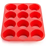 OvenArt Bakeware Silicone Muffin Pan, Red