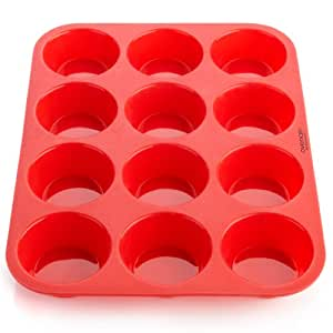 OvenArt Bakeware Silicone 12-Cup Muffin Pan, Red