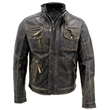 Men's Black Warm Vintage Brando Leather Biker Jacket