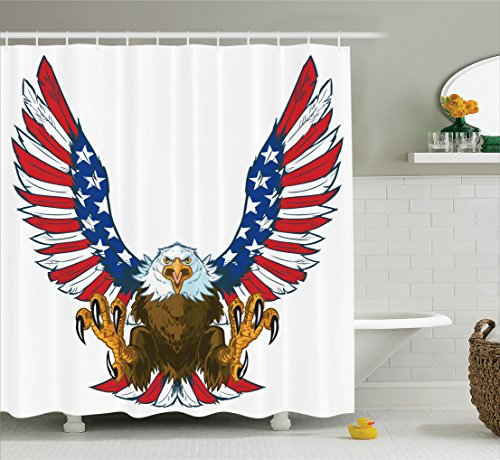 Americana Decor Shower Curtain by Ambesonne, Mean Screaming