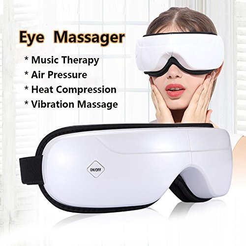 Eye Massager REAK Wireless Eye Massager Music Therapy Stress Relief Machine with Air pressure,Heat Compression, Vibration Massage and 5Modes for Dry Eye Relax Vision Care Eyestrain Stress Relief Eye C
