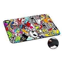 114 - Cool Funky Sticker Bomb Jdm Eat Sleep Design Macbook PC Laptop Anti-slip Mousepad Mouse Mat Tpu Leather-Slim 3MM