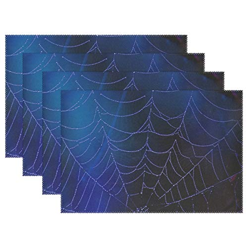 XINGCHENSS Spider Web Blue Dew Drops Halloween Scary Horror Placemats Set of 4 Heat Insulation Stain Resistant for Dining Table Durable Non-Slip Kitchen Table Place Mats ()