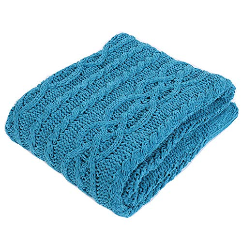 Battilo Knitted Chenille Throw Blanket for Sofa and Couch, Lightweight, Soft & Cozy Knit Throws - Blue, 50