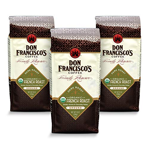 Don Francisco's Organic French Roast, Ground Coffee, 100% Arabica, (3 x 10-ounce bags)