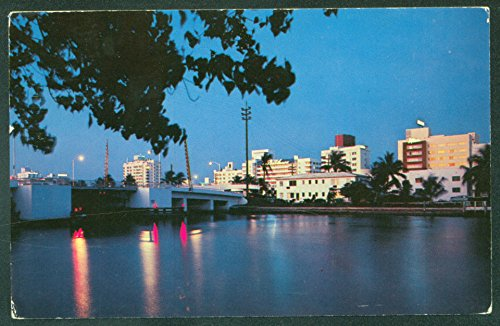 Indian Creek MIAMI FL Night Scene HOTELS Florida View Postcard ()