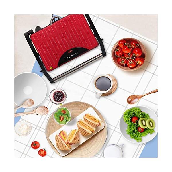 Aigostar Warme 30HHH - Panini Maker/Griglia, Pressa a sandwich, Griglia elettrica, 700 Watt, Fredda al tocco… 6