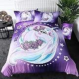 Sleepwish Unicorn Bedspread Girly Purple Aqua Duvet Cover Full Size 3 Pieces Cute Unicorn Floral Bedding