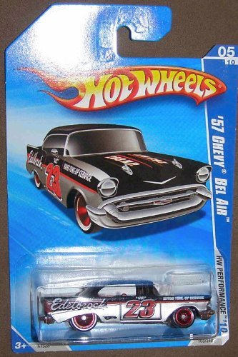 HOT WHEELS 05/10 '10 HW PERFORMANCE '57 CHEVY BEL AIR EDELBROCK BLACK & SILVER WITH RED RIMS (Bel Air 57 Classic Car)
