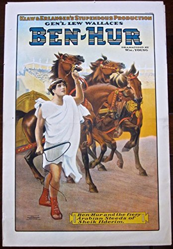 (BEN HUR - ORIGINAL 1910 THEATRE POSTER - VERY RARE ROMAN ART STONEBRIDGE LITHO )