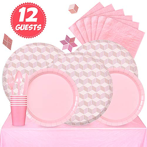 (Partybus Party Supplies Set - Serves 12, 93 Ct, Pink Theme Disposable Party Tableware Kit for Boys Girls Kids Birthday Decorations, Includes Dinner Plates, Dessert Plates, Napkins, Cups, Table Cloth, Silverware)