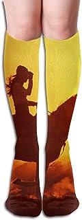 HOJJP Cowgirl On Horse Sunset.Net Women's Fashion Knee High Socks Casual Socks