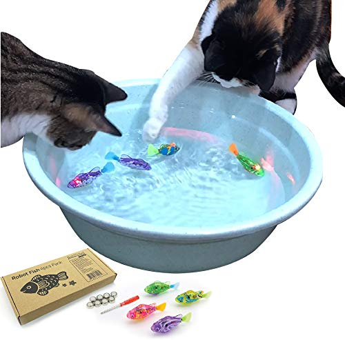 BlackHole Litter Mat Interactive Swimming Robot Fish Toy for Cat with LED Light (4 pcs), Electronic Cat Toy to Stimulate…