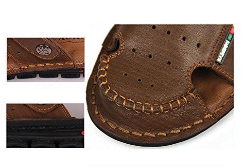 Nueva llegada de cuero suave sandalias de playa para los hombres, hecho a mano de cuero genuino zapatos de verano masculino, Retro costura zapatillas de los clásicos para los hombres , 2 , 7