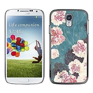 Paccase / SLIM PC / Aliminium Casa Carcasa Funda Case Cover para - Vignette Begonia Pink Flowers - Samsung Galaxy S4 I9500