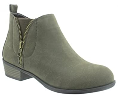 Zoey-14 Women's Fashion Side Zip Ankle Booties