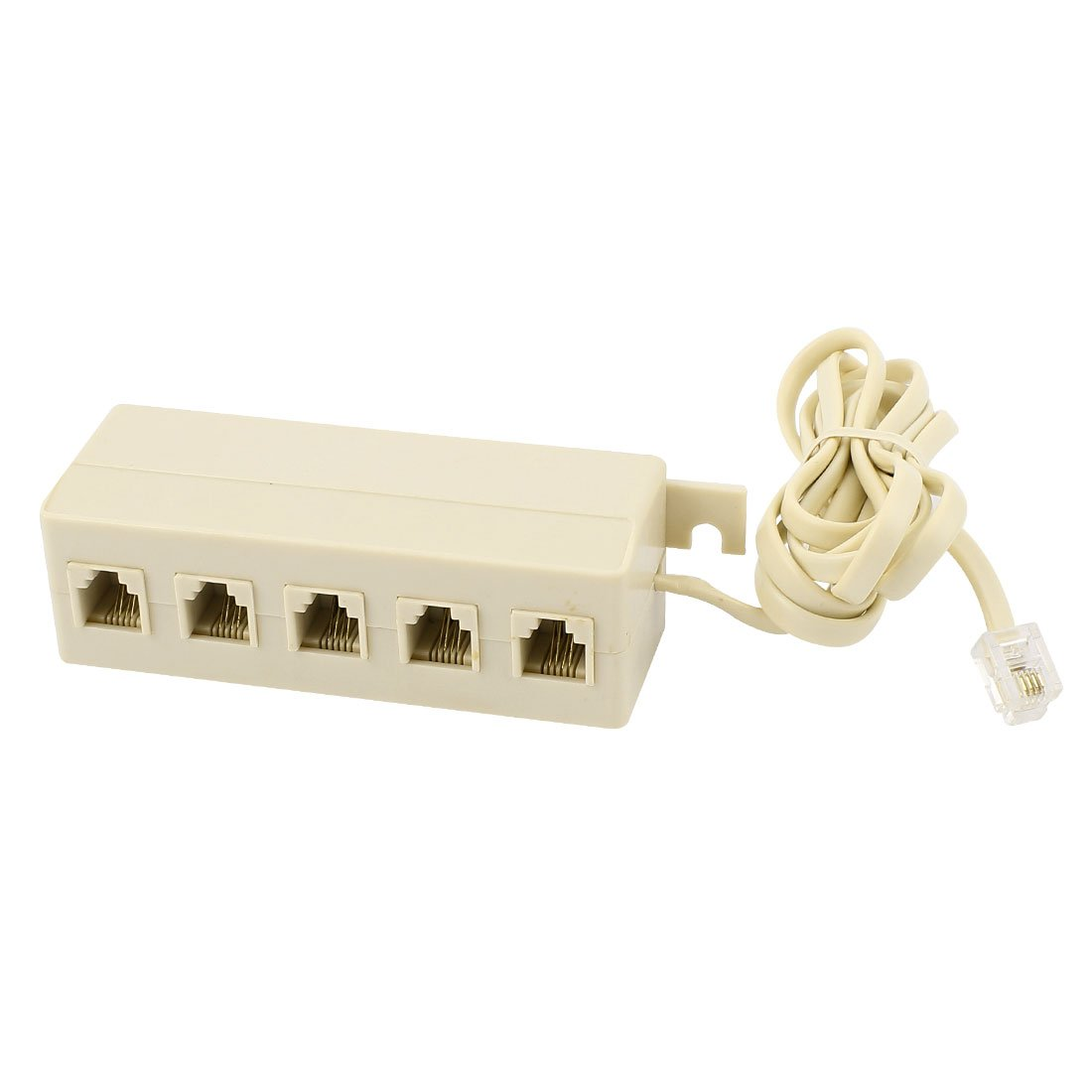 uxcell 5 Way Outlet 6P4C RJ11 Telephone Phone Modular Jack Line Splitter Adapter Beige a15040800ux0490