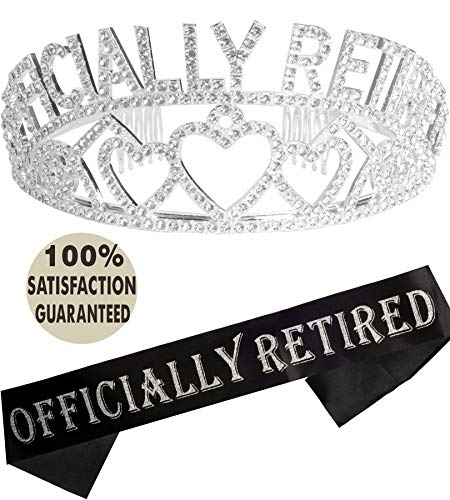 Officially Retired Retirement Party Set | Officially Retired Tiara/Crown | Retired Sash | Officially Retired Satin Sash| Retirement Party Supplies, Gifts,Favors and Decorations -
