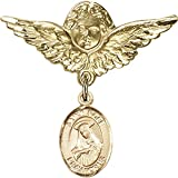 Gold Filled Baby Badge with St. Rose of Lima Charm and Angel w/Wings Badge Pin 1 1/8 X 1 1/8 inches