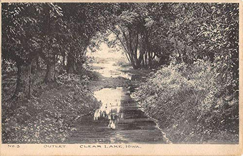 Outlet Lake (Clear Lake Iowa Outlet Waterfront Scenic View Antique Postcard K101468)