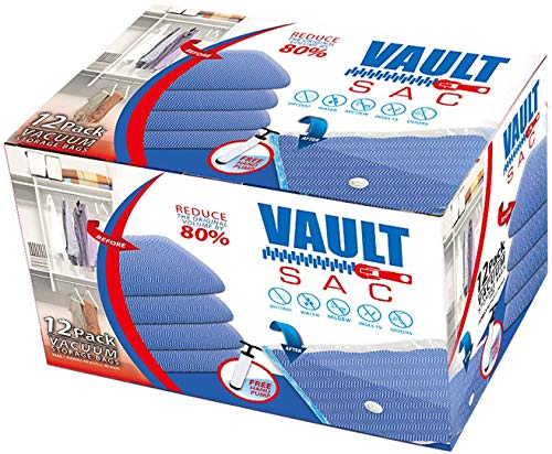 Vacuum Storage Bags | 12 PACK JUMBO Size | 12 x Jumbo Size 40 Inch x 30 Inch Bags | 80% MORE STORAGE for Clothes Blankets Duvets & Much More | Works with Any Vacuum Cleaner FREE Hand-Pump For Travel by Vaultsac