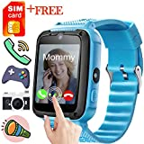 Kids Smart Watches-GBD Kids Wrist Smart Watch Phone with FREE SIM (SpeedTalk) Card for Girls Boys Birthday Gifts with Game Camera Pedometer Electronic Learning Toys Summer Travel Camping (Blue)