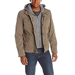 Washed Cotton Four Pocket Hooded Jacket,Khaki,Large