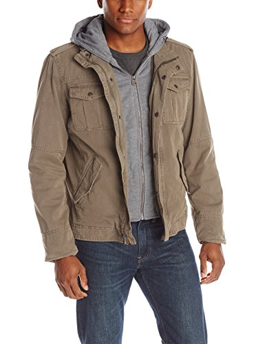 Jacket Four Pocket Leather Zip - Washed Cotton Four Pocket Hooded Jacket,Khaki,Large