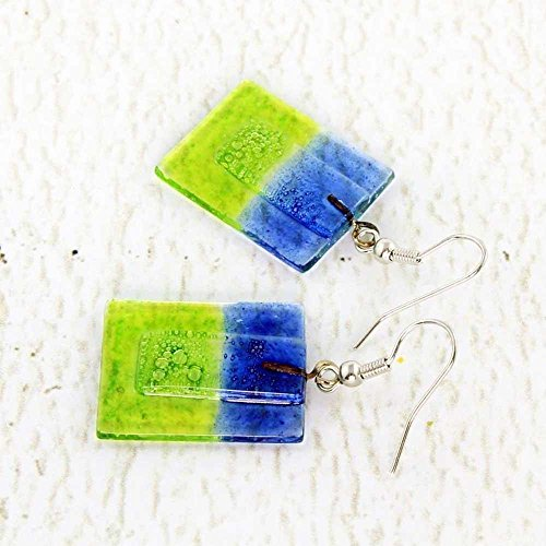 Blue Fused Ring Glass - Blue and Green Fused Glass Earrings, Square Dangle Shape, Hippie Style, Handmade Fair Trade Jewelry