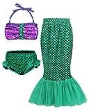 AmzBarley MermaidTailsforSwimmingKids Girls Bikini Swimsuit Swimwear Bathing Suit Top and Ariel Princess Bling