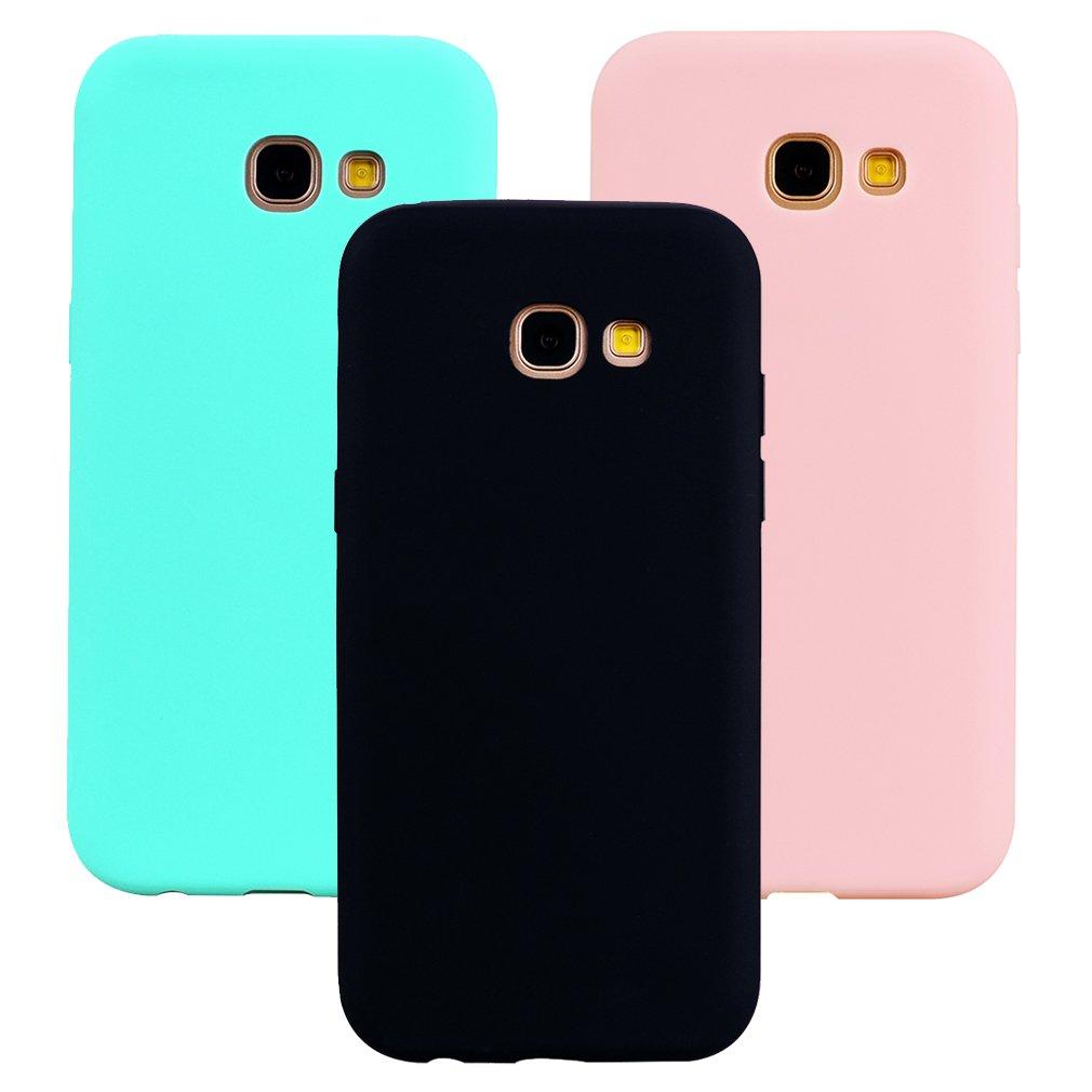 Funda Samsung Galaxy A3 2017, 3Unidades Carcasa Galaxy A3 2017 Silicona Gel, OUJD Mate Case Ultra Delgado TPU Goma Flexible Cover para Samsung A3 2017 (Negro, Color transparente, Azul)