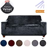 ACOMOPACK Sofa Cover for 2 Cushion Couch, Dark Gray Velvet Stretch Cover Couch Slipcovers for Furniture, Sofa Loveseat Cover Protector for Dogs with Plastic Tuckers and Side Pocket