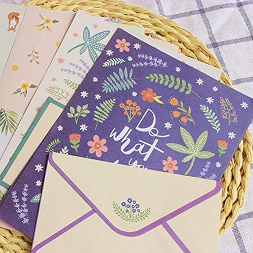 FANGDAHAI BriefpapierSupplies 1 Set Cute Flower Envelopes Letter Pad Set Vintage Paper Letter Paper for Writing Letter Stationary Office School Supplies Gift