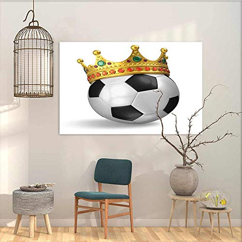 Modern Decorative Painting Sticker King Football Soccer Championship Inspired Ball Crown with Ornaments Image Print Modern Decorative Artwork Black White and Gold W31 xL23