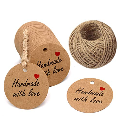 Jar Tags - Handmade Gift Tags 2'' Round Tags 100PCS Brown Kraft Hang Tags with 100 Feet Natural Jute Twine Perfect for DIY&Craft, Wedding Party Favor and Birthday Party