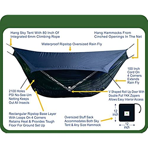hammock bliss sky tent 2   a revolutionary 2 person hammock tent   waterproof and bug proof hanging tent provides spacious and cozy shelter for 2 camping     tree hammock tent  amazon    rh   amazon