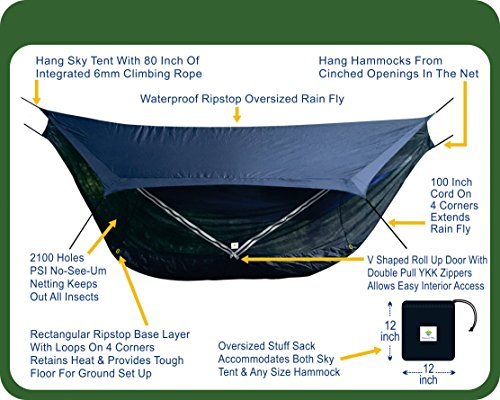 Hammock Bliss Sky Tent 2 - A Revolutionary 2 Person Hammock Tent - Waterproof and Bug Proof Hanging Tent Provides Spacious and Cozy Shelter For 2 Camping Hammocks - Embrace Hammock Camping Comfort by Hammock Bliss